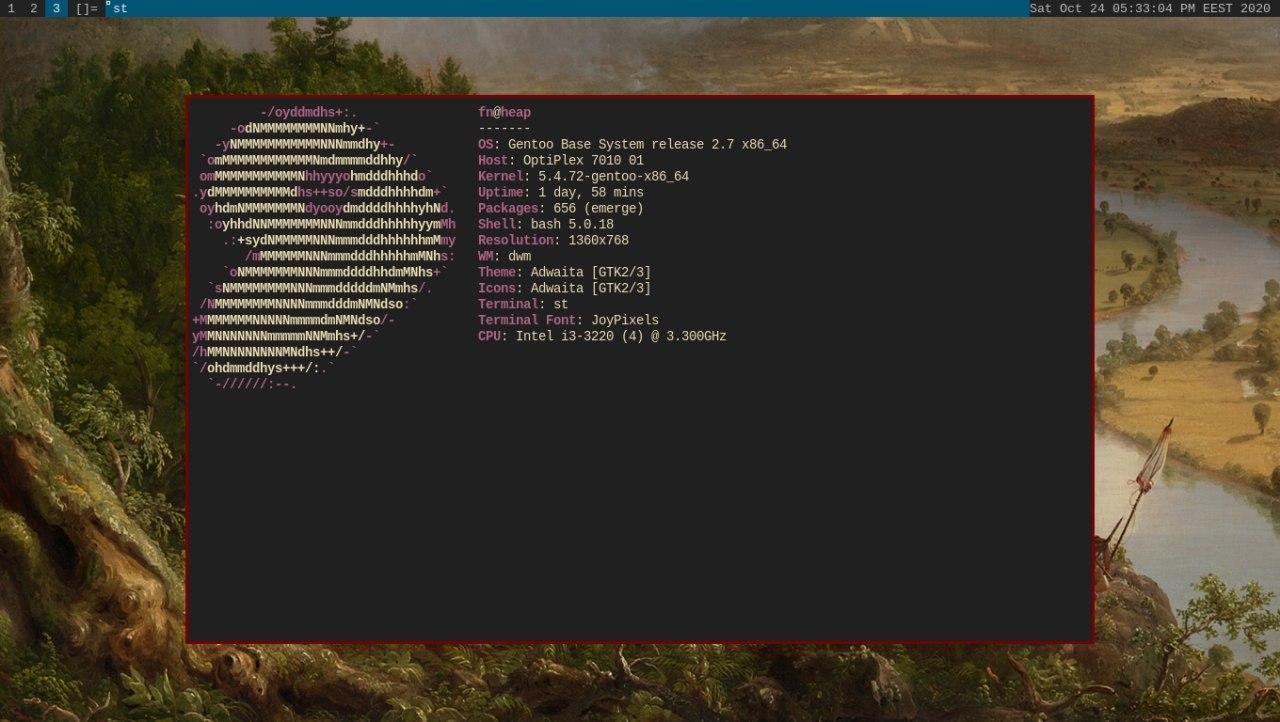 screenshot of gentoo on optiplex